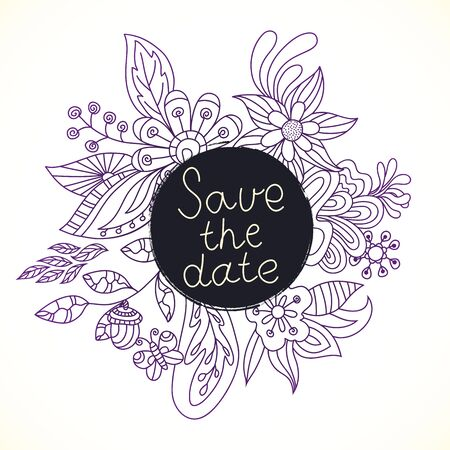 lace pattern: Wedding invitation cards with floral elements. Vector cards design. Wedding invitation, save the date.Hand drawn floral ornaments. Outline.