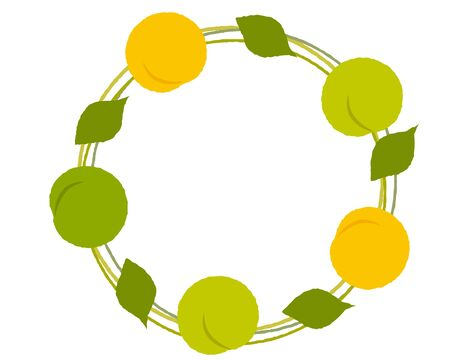 Round frame of three-color plum fruit and leaves  イラスト・ベクター素材