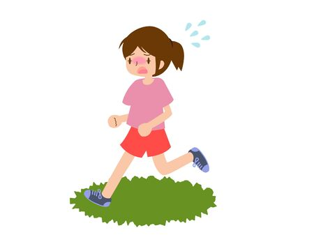 Young female runners sweating from heat stroke