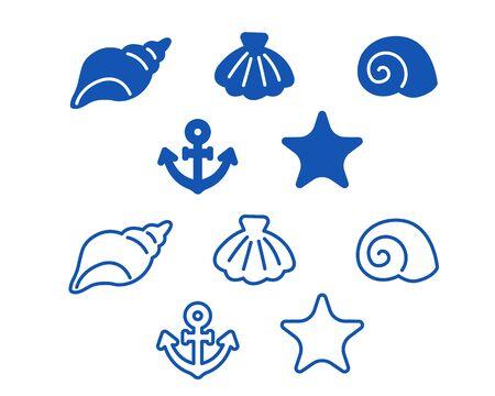 Simple marine material line art set  イラスト・ベクター素材