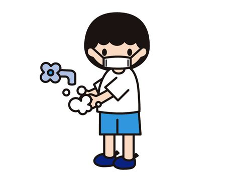 Simple illustration of a child wearing a mask and washing his hands
