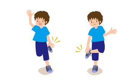 A boy doing hand clap exercises