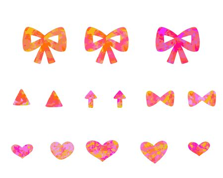Cute one-point set of marble pink ribbons and hearts and arrows