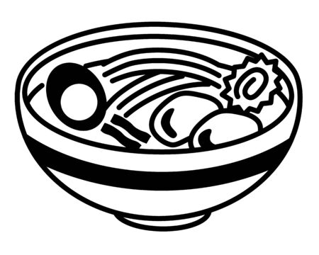 A simple black-and-white illustration of ramen with Naruto, Menma and egg