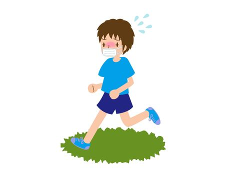 A young male runner wearing a mask and has heat stroke Vectores