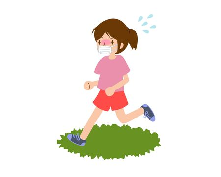 Young female runner with heat stroke in mask