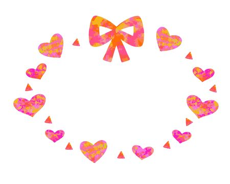 Cute one-point set of marble pink and orange ribbons and hearts and arrows