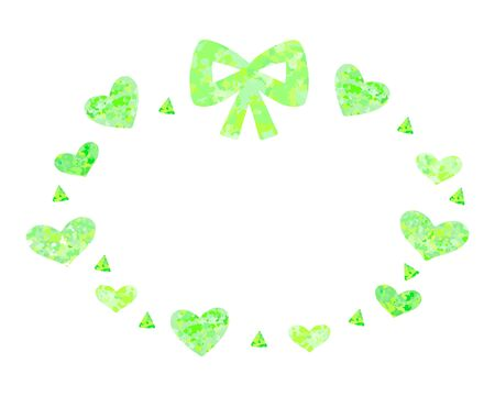 Green ribbon and heart refreshing cute round frame  イラスト・ベクター素材