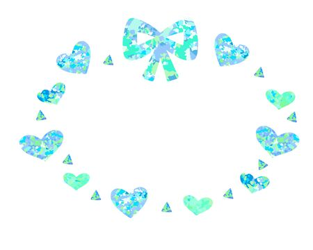 Blue ribbon and heart sparkling cute round frame