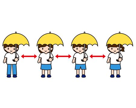 Children who hold a parasol and have a social distance