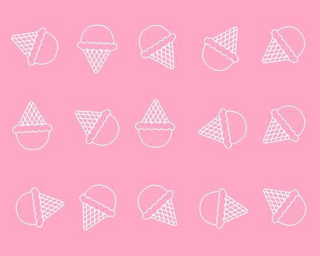 Cute pink background line art ice cream pattern  イラスト・ベクター素材