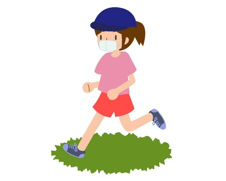 a young female runner who wears a mask and runs in a hat