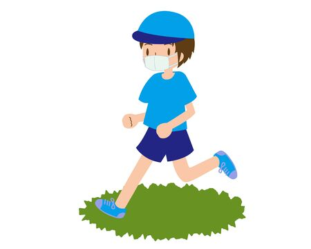 a young male runner who runs in a mask and a hat