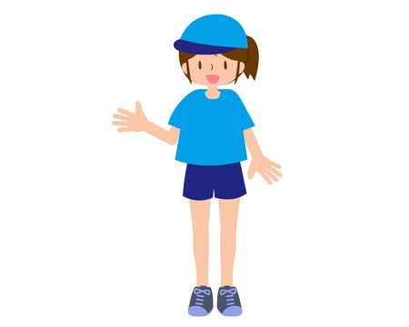 Illustration of a short-sleeved female staff wearing a hat  イラスト・ベクター素材