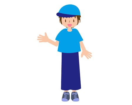 Illustration of a short-sleeved male staff wearing a hat