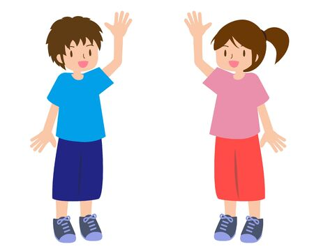 Illustration of a young man and woman raising their hands in sporty fashion