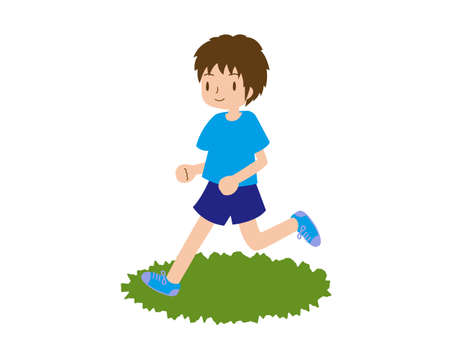 Male runner running with a smile on the grass