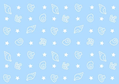 Light blue marine pattern background of shells, anchors and stars