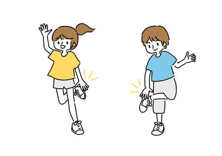 Illustration of a young man and a woman doing a hand clap dance