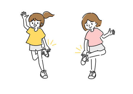 Illustration of a young woman doing hand clap exercises  イラスト・ベクター素材