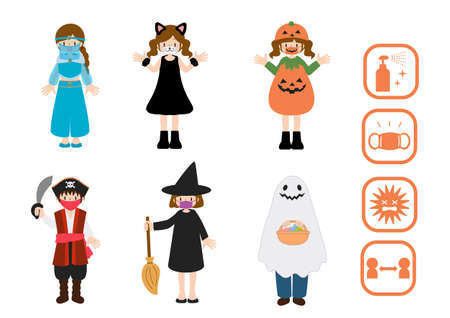 Cosplay illustration set of infection prevention Halloween party