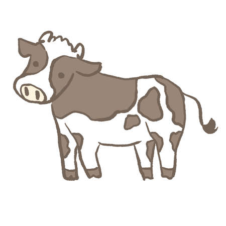 A simple cute Holstein cow's side figure  イラスト・ベクター素材
