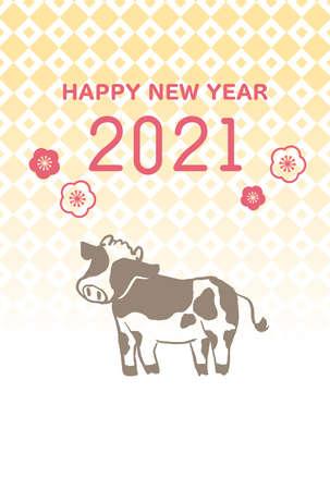2021 Ushi-no-Nensseyeka Postcards  イラスト・ベクター素材