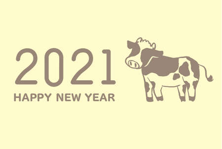 2021 Cow Illustration New Year's Postcard Template