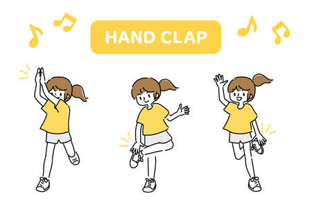 Illustration of a woman doing a hand clap dance