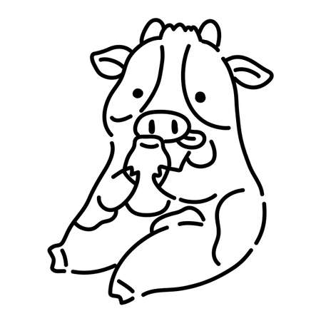 Cute Holstein cow line drawing illustration