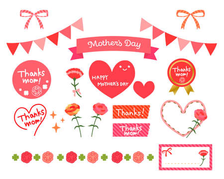 Mother's Day material illustration set of carnation and ribbon and heart