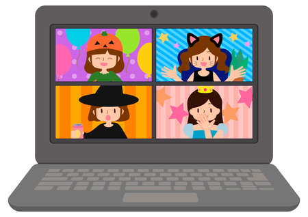 Computer screen illustration of remote Halloween party women's association