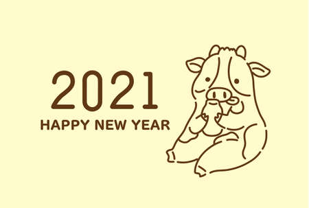 2021 Cute Cow New Year Postcard Template