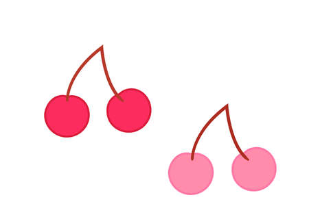 Illustration of pink and red cherries Иллюстрация