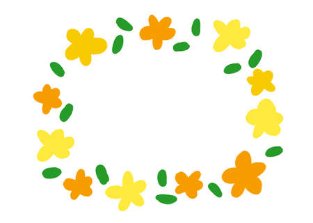 Hand-painted wind frame with yellow flowers and leaves  イラスト・ベクター素材