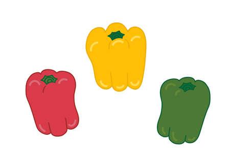 Illustration of red yellow-green pepper  イラスト・ベクター素材