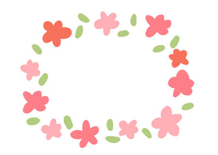 Hand-painted frame of Nordic pink flowers and leaves