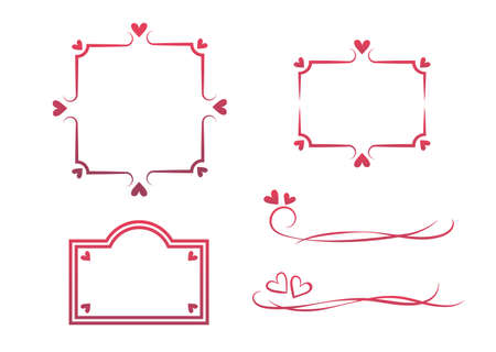 Frame set of red heart