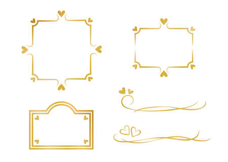 Gold Heart Frame and Heading Set  イラスト・ベクター素材