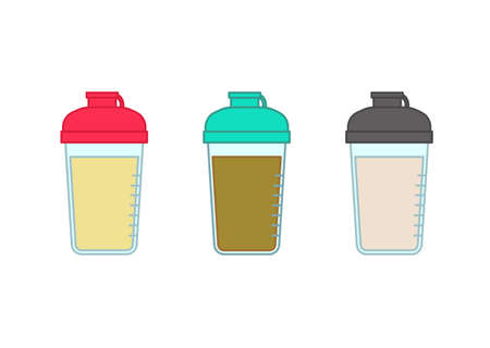 Protein drinks of various colors in shaker
