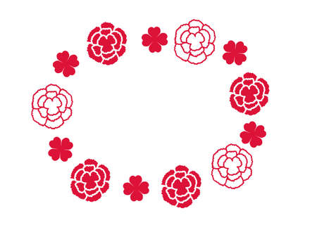 Simple carnation round frame  イラスト・ベクター素材