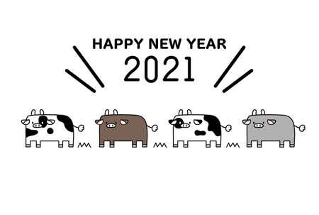 2021 Cute Cow Illustration New Year's Postcard  イラスト・ベクター素材