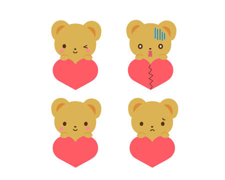 Illustration of a bear with a heart to express her feelings