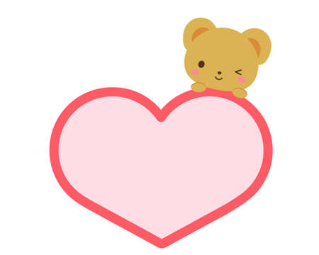 The message of the heart-shaped frame on which the bear rode  イラスト・ベクター素材