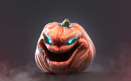 Halloween Pumpkin with funny expressions in smokey background,funny Jack O'Lantern Stock fotó