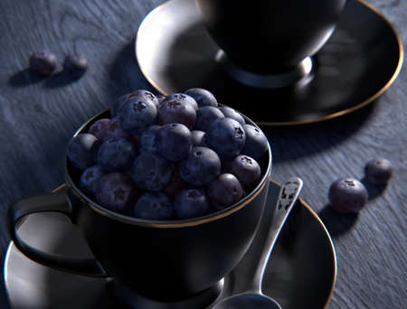 Freshly picked blueberries in cup on a table