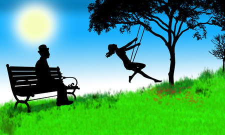 Illustration of  boy watching girl swinging in park