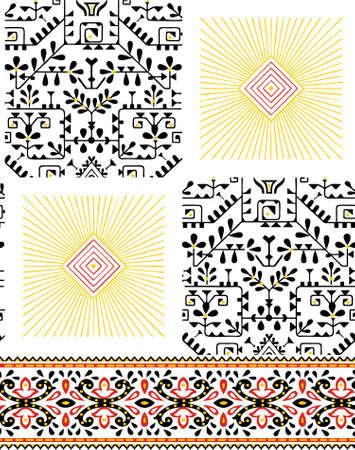 geometrical pattern with ornamental  pattern Illustration