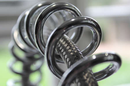 sprung: Industrial tap spring and hose Stock Photo