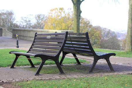 lonliness: Two empty benches at the top of a hill in rural Lancashire symbolise lonliness and loss